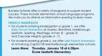 Burnaby Schools offer a variety of programs to support student success. These include elementary school programs for French Immersion and Mandarin Language Arts. Please see attached information for upcoming Parent […]